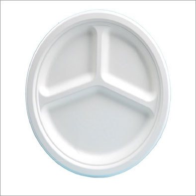 Bagasse 3 Section Round Plate