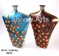 Metal Iron Multicolored Flower Vase Pot