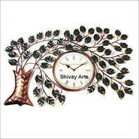Metal Hand Painted Tree Wall Clock