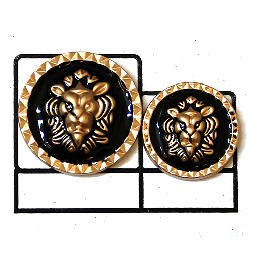Black Enamel Lion face Metal Button