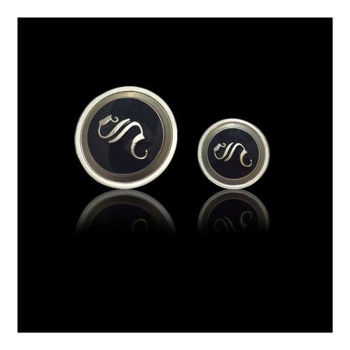 Silver black Metal Button