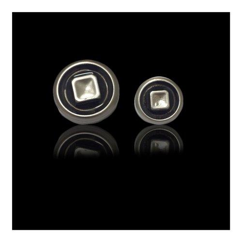 Silver Black Button