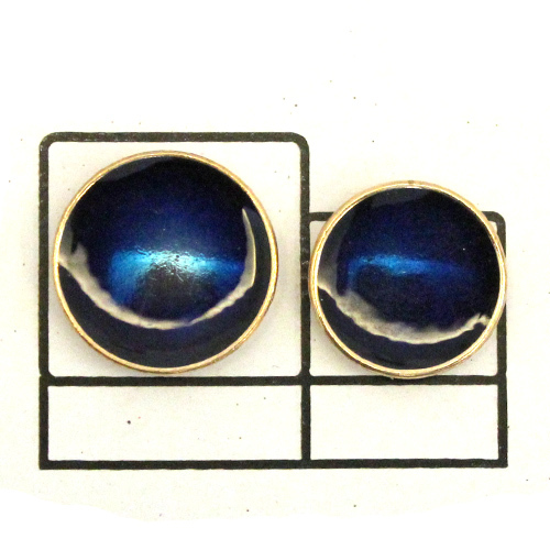 Blue enamel Metal Button