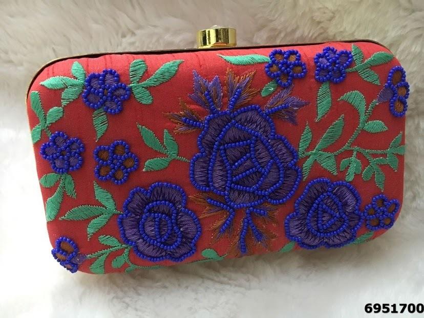 Latest Designer Flower Pattern Colored Clutch Bag