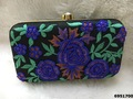 Latest Designer Flower Pattern Colored Clutch Bag