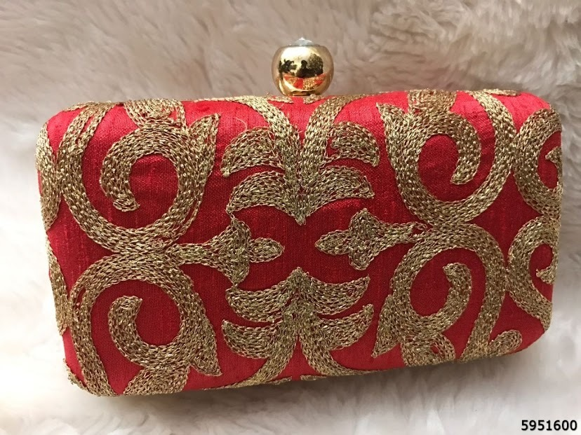 Hand Embroidery Box Clutch