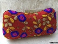 Stylish Colorful Evening Box Clutch With StoneLock