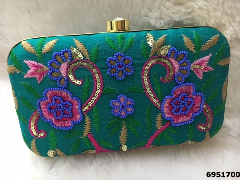 Fabulous And Stylish Stones Embroidered Box Clutch