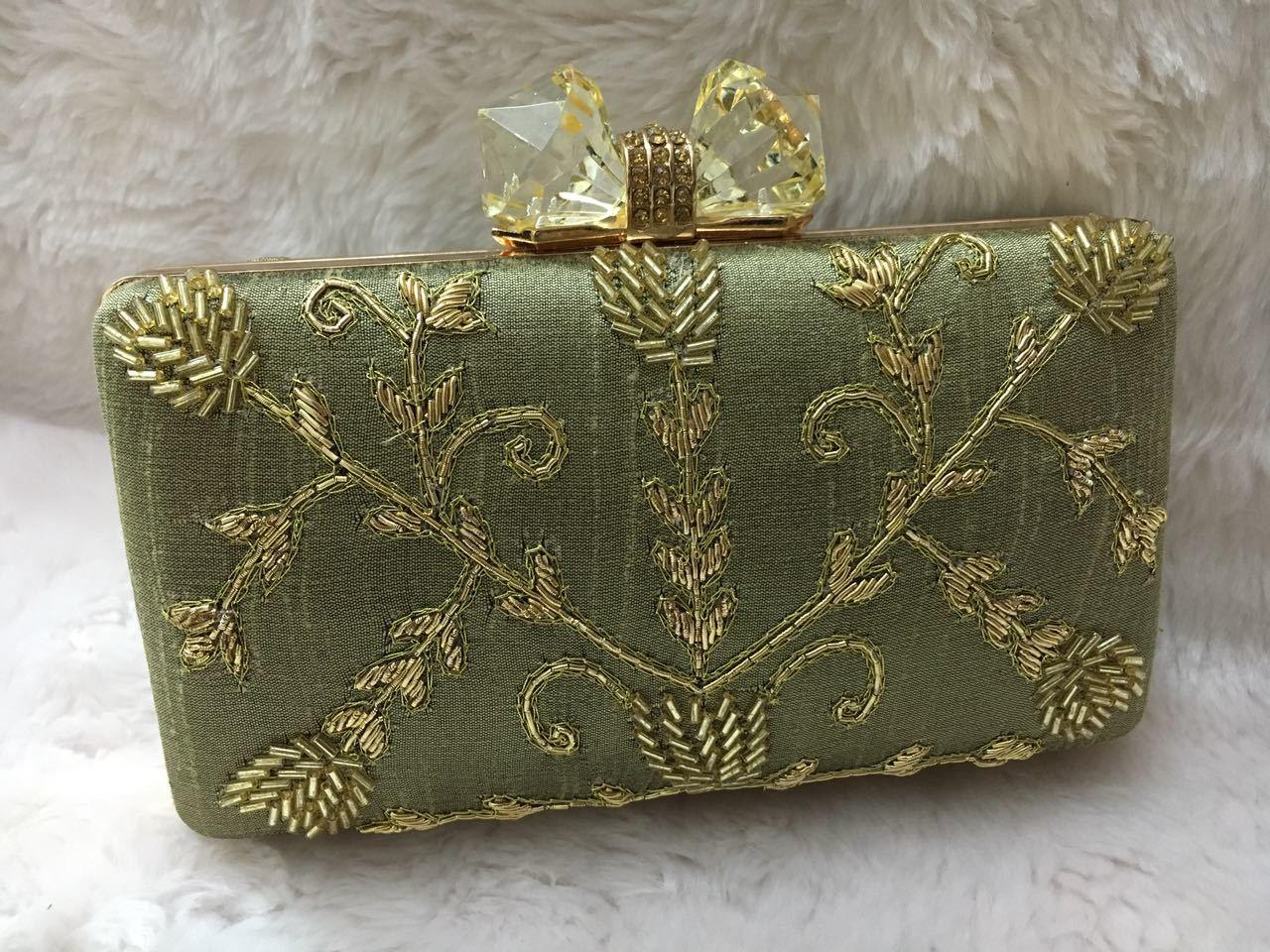 Elegant And Stylish Zari Work Box Clutch