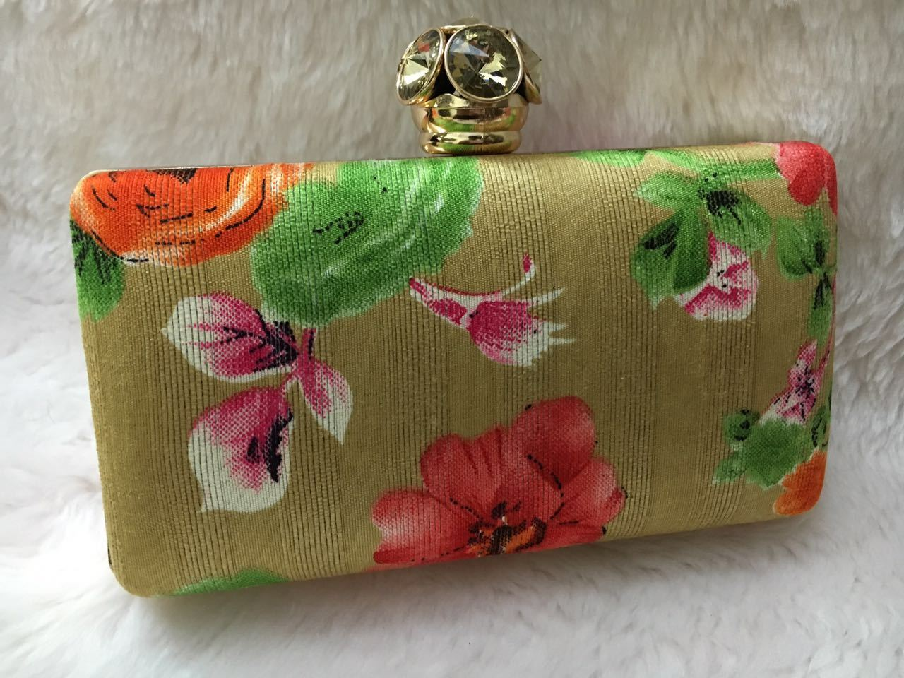 Latest Floral Box Clutch With Modern Stone Frame