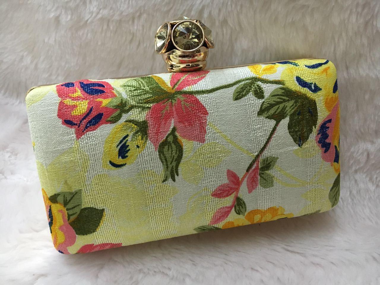Designer Floral Print Box Clutch Bag