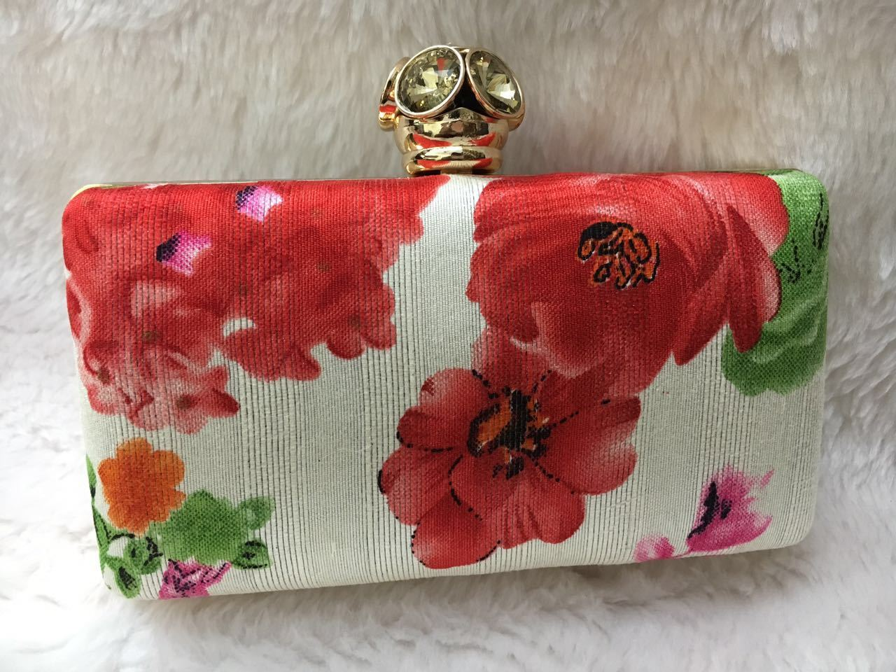 Designer Floral Print Box Clutch Bag