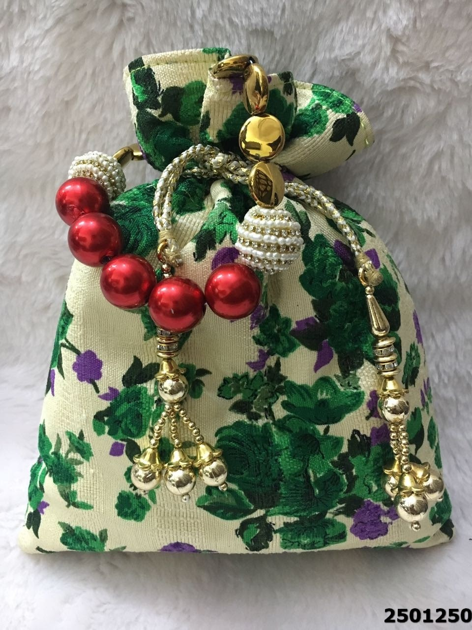 Latest Floral Print Potli Bags With Stylish Dori
