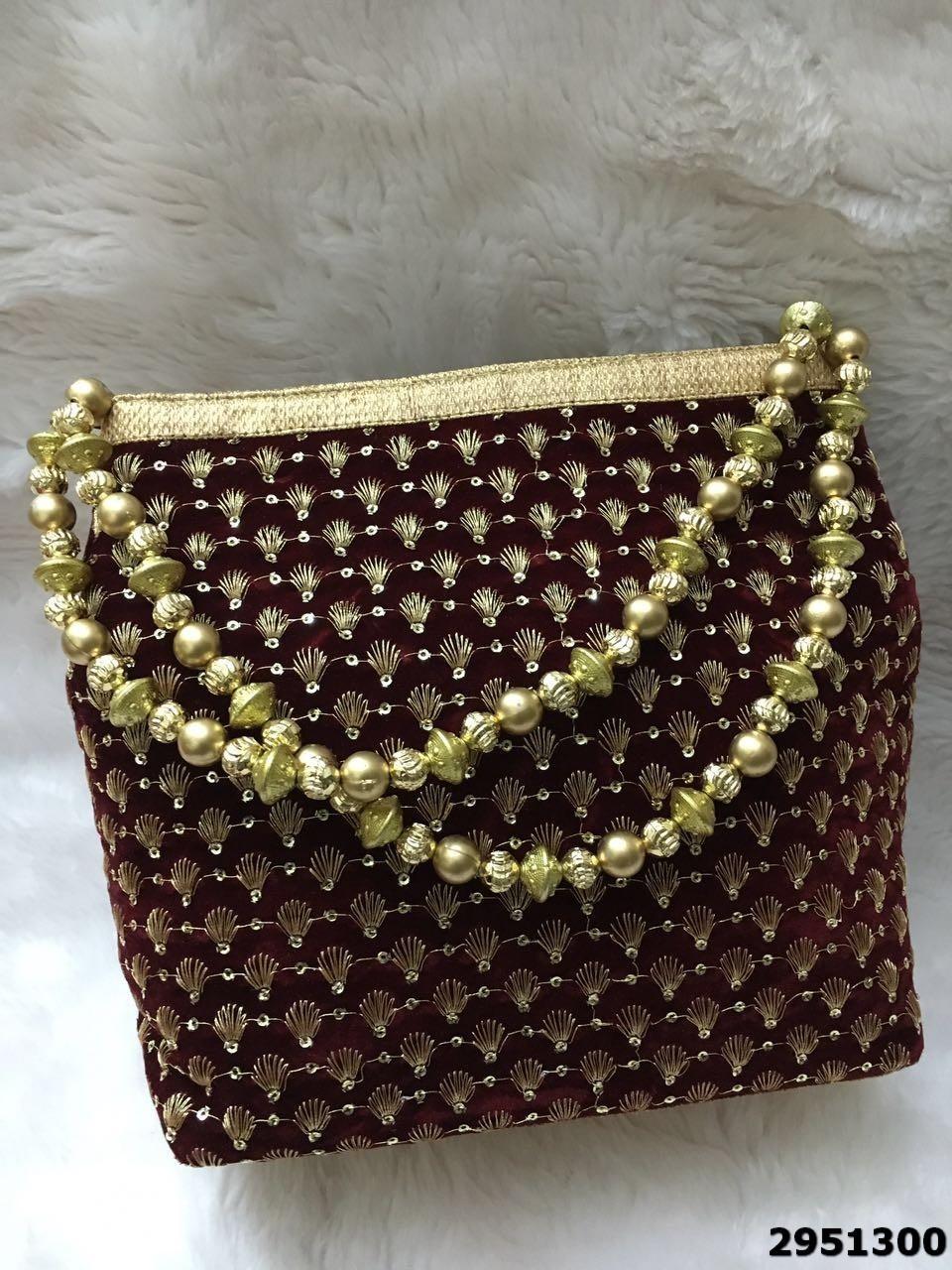 Latest Designer Embroidred Beaded Sling Potli Bag