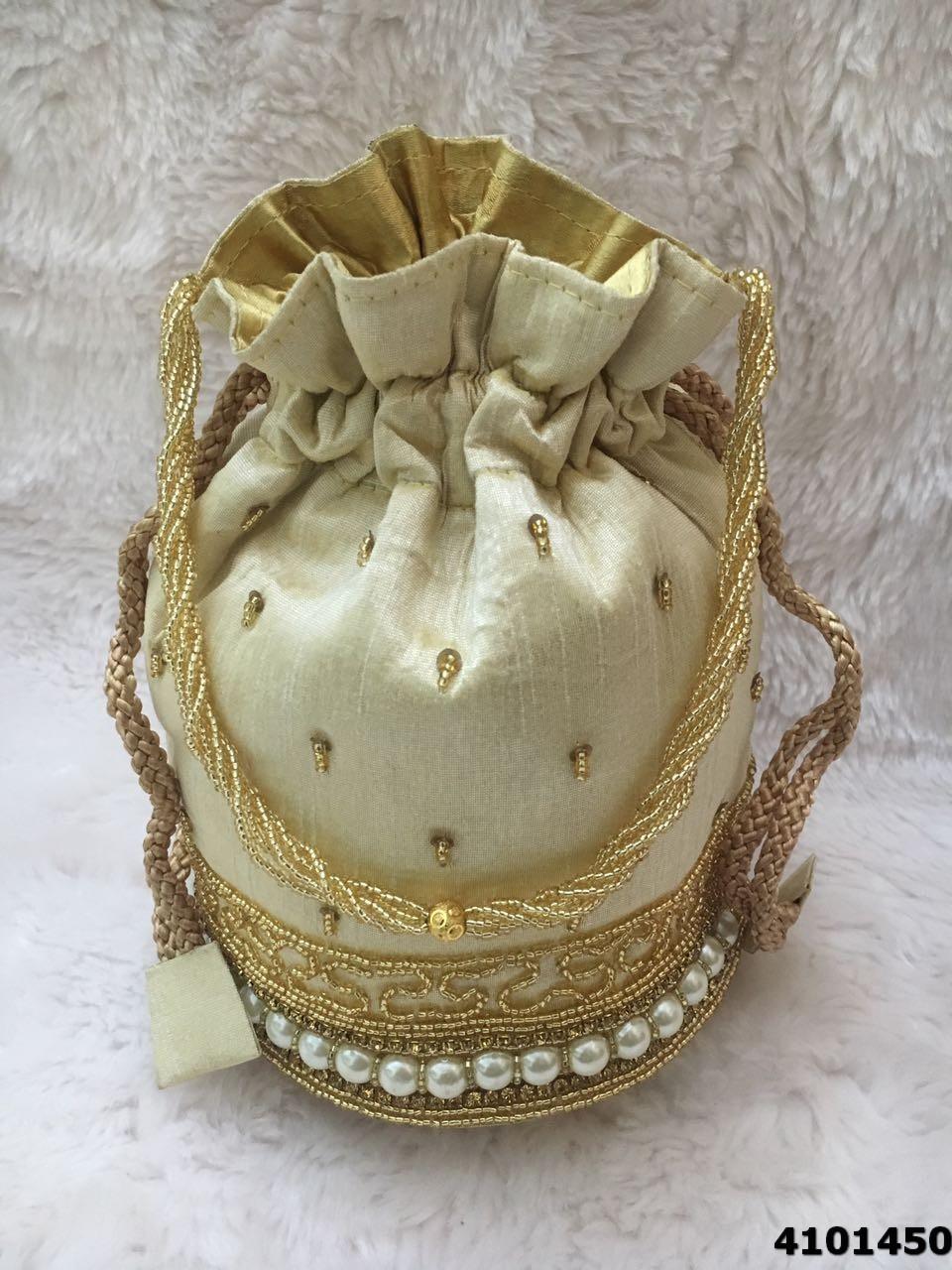 Beautifully Designed Pearl Work Potli Bag