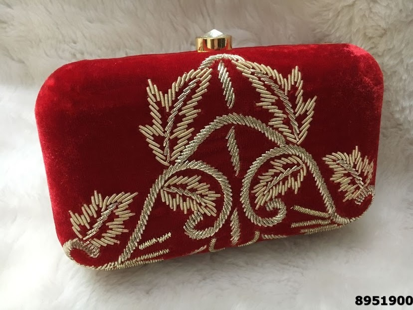 Latest Designer Hand Embroidered Fancy Box Clutch