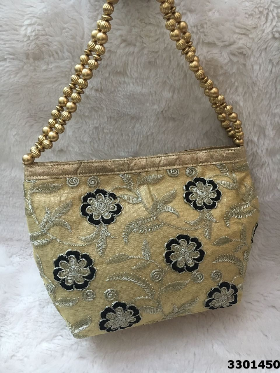 Latest Embroidered Golden Base Potli Bag
