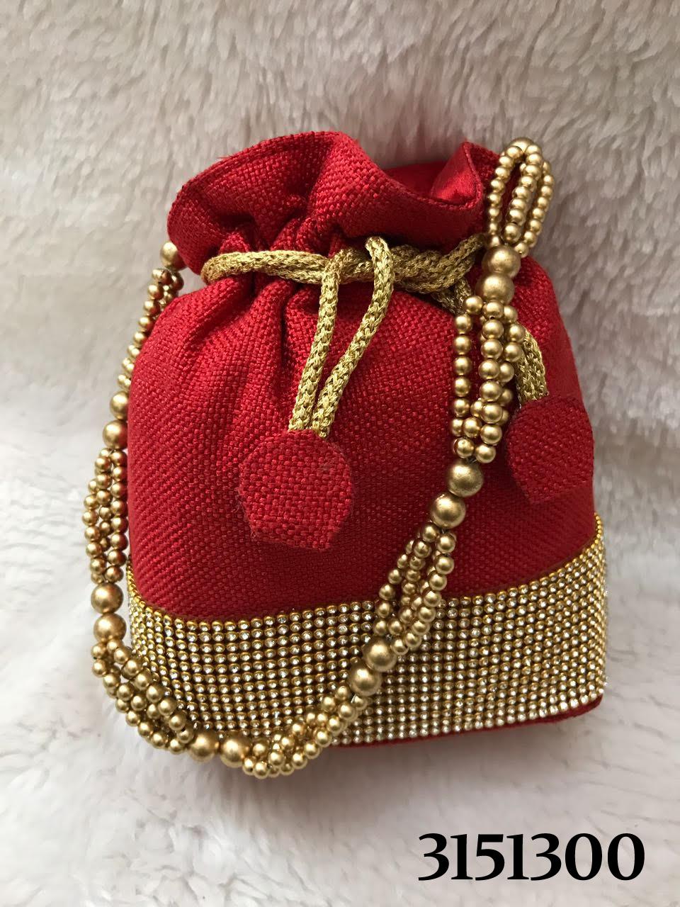 Elegant And Stylish Stone Work Jute Potli Bag
