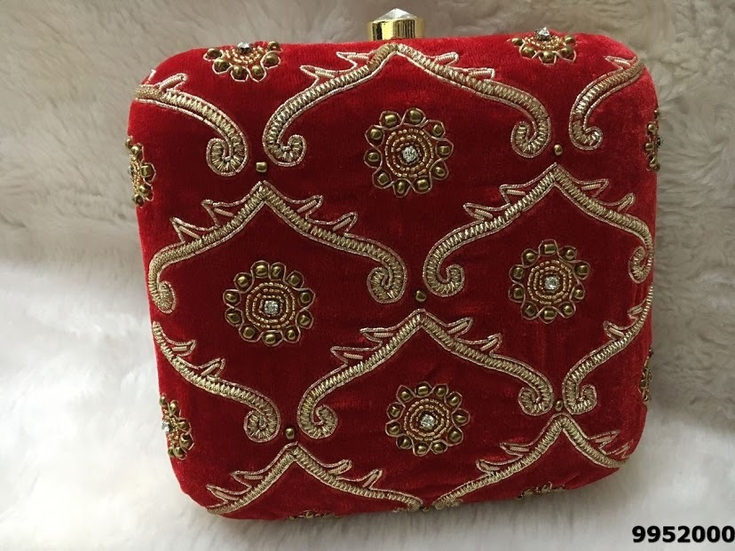 Latest Designer Embroidery Stone Work Box Clutch