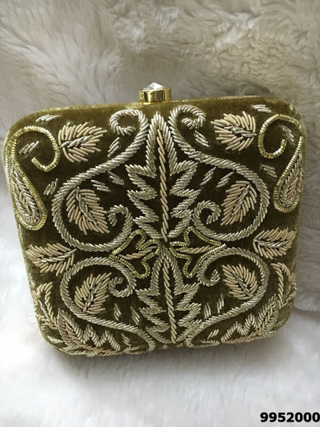 Fabulous And Royal Zari Work Embroidery Box Clutch