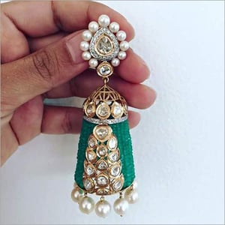Gold Kundan Diamond Jumka