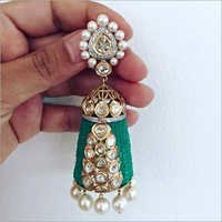 Gold Kundan Diamond Jumka