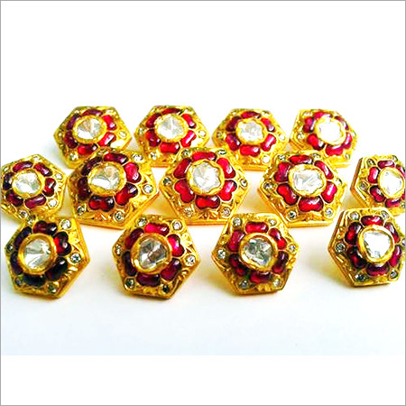 Gold Kundan Jadau Button