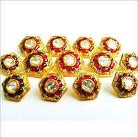 Gold Kundan Jadau Button