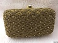 Contemporary Stone Work Box Clutch With Sling