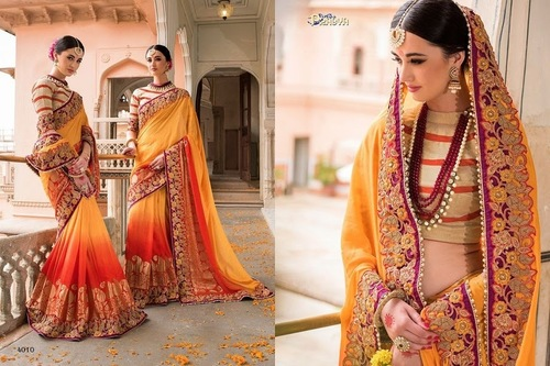 Heavy Work Shaded Designer Saree