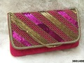 Designer Velvet Clutch Bag with Beaded Sling