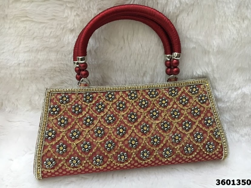 Stylish Silk Bags With Beaded Embroidery Handbags
