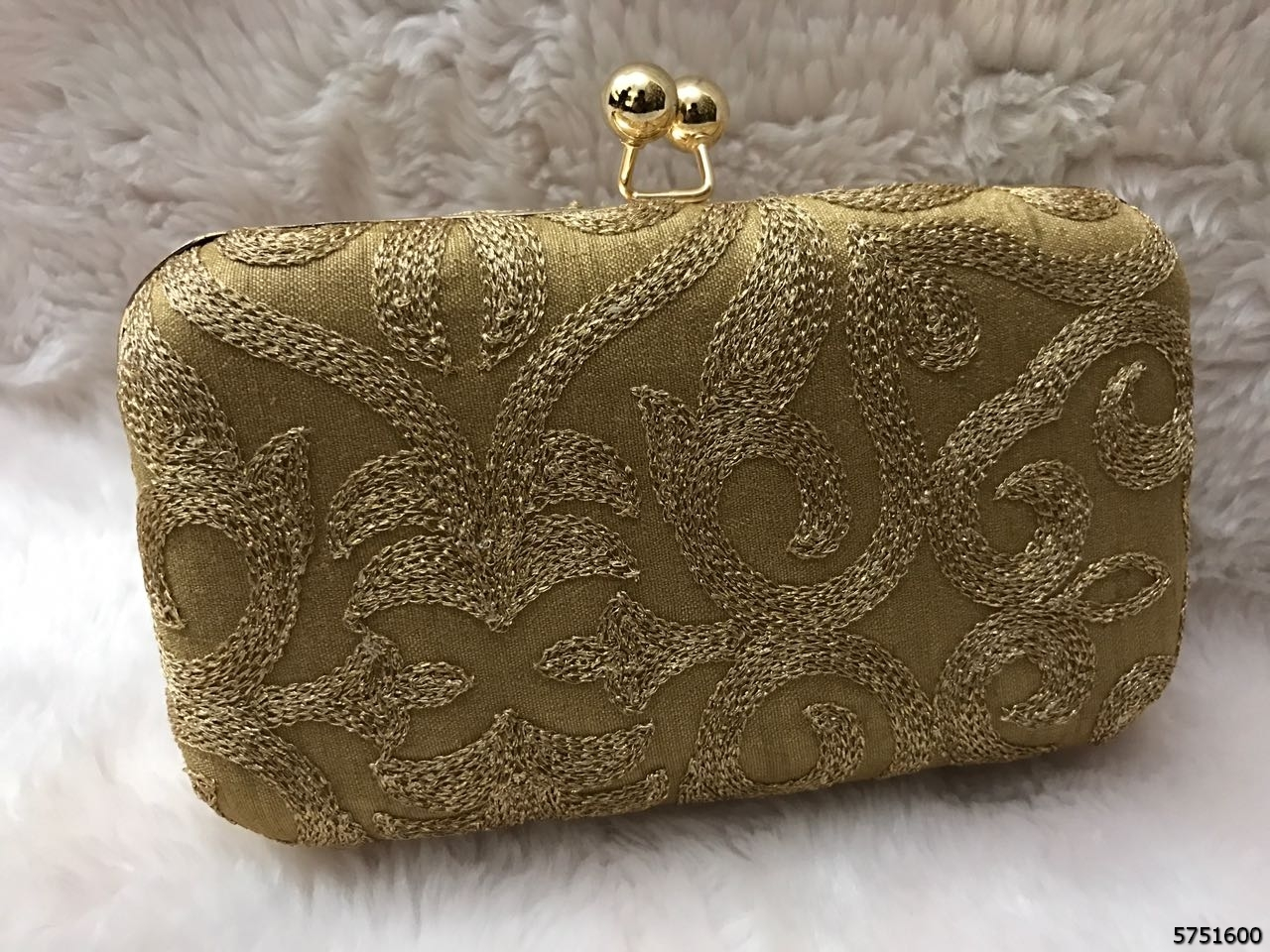 Elegant Hand Embroidered Box Clutch WithChainSling