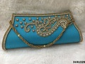Designer Exclusive Silk Clutch Bag With Stone Work