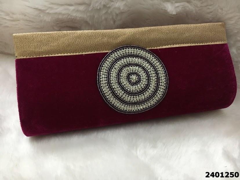 Latest Designer Stone Patch Velvet Clutch Bag