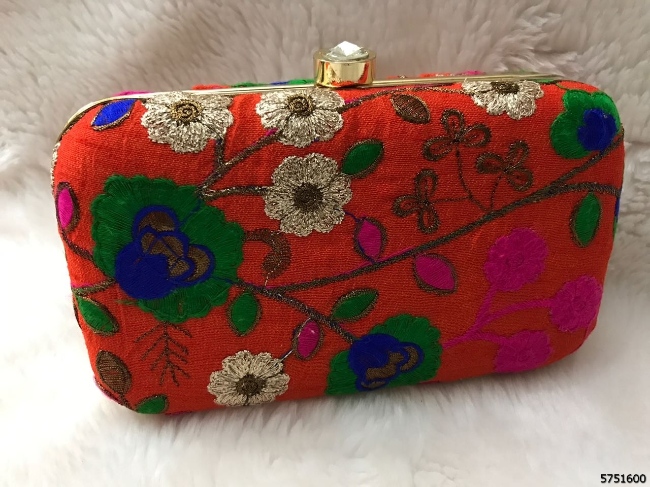 Classic Floral Design Brocade Box Clutch WithSling