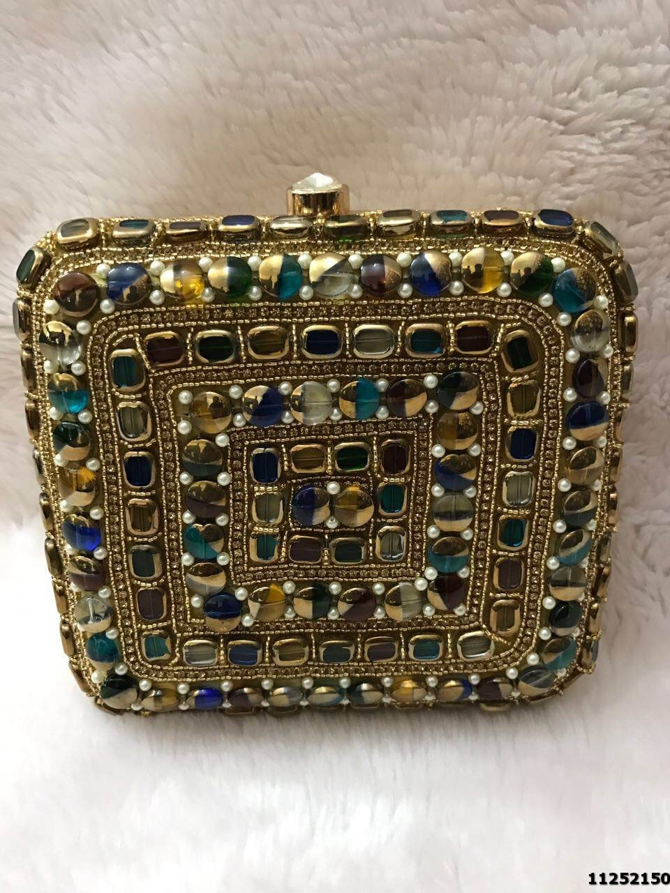 Adorable And Designer Fully Stone Work Box Clutch