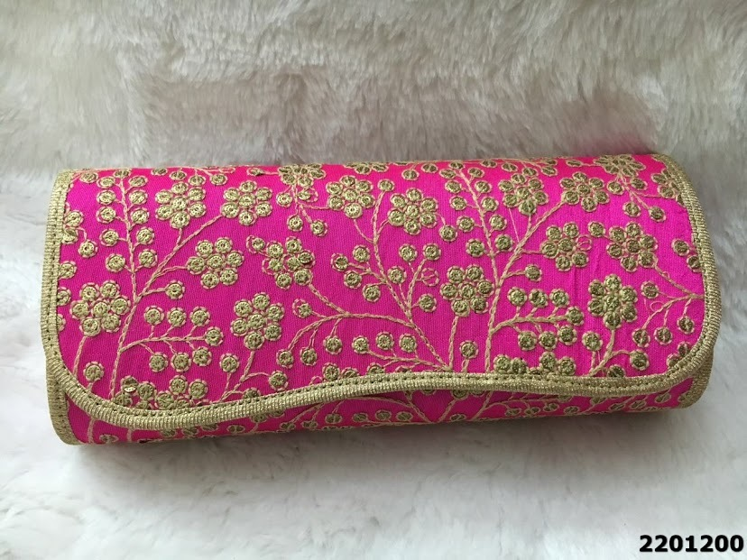 Designer Flowers Design Embroidered Clutch Bag