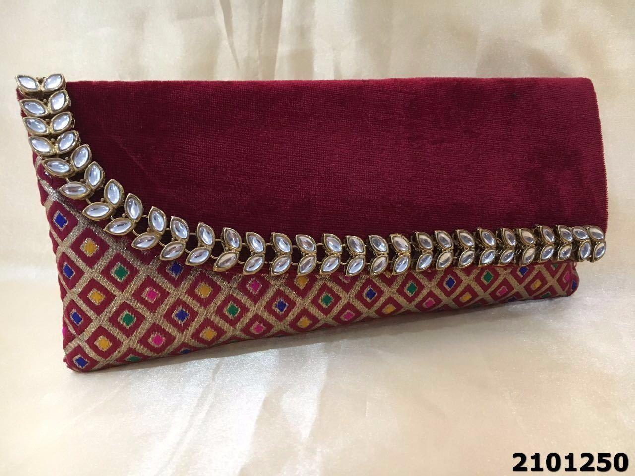 Elegant And Stylish Kundan Stone Velvet Clutch Bag