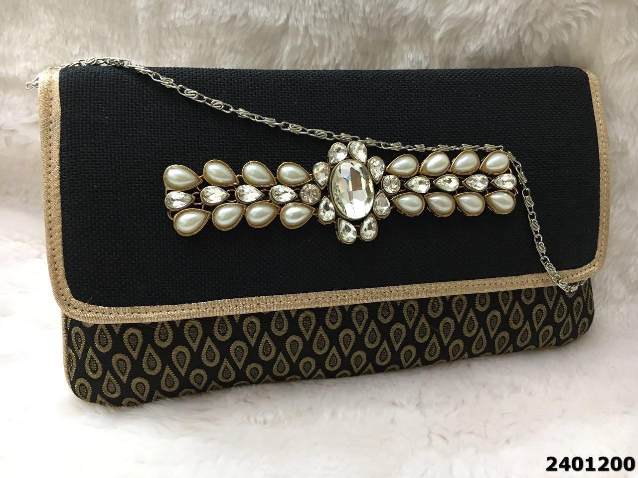 Pretty And Elegant Kundan Stone Brooch Clutch Bag