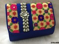 Cute And Cool Look Clutch Bag With Stone Brooch