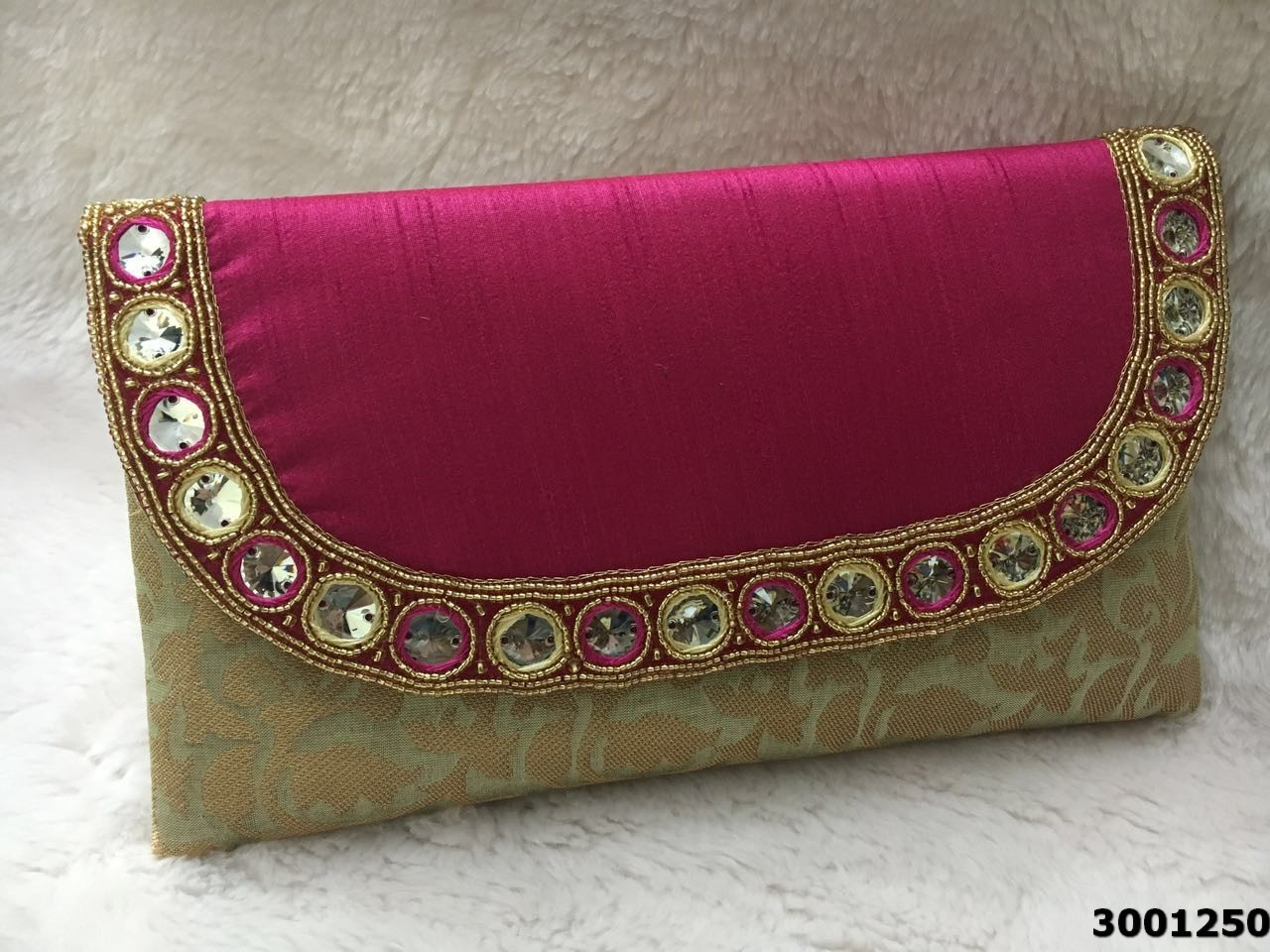 Designer Stone Work With Bold Colors Clutch Bag