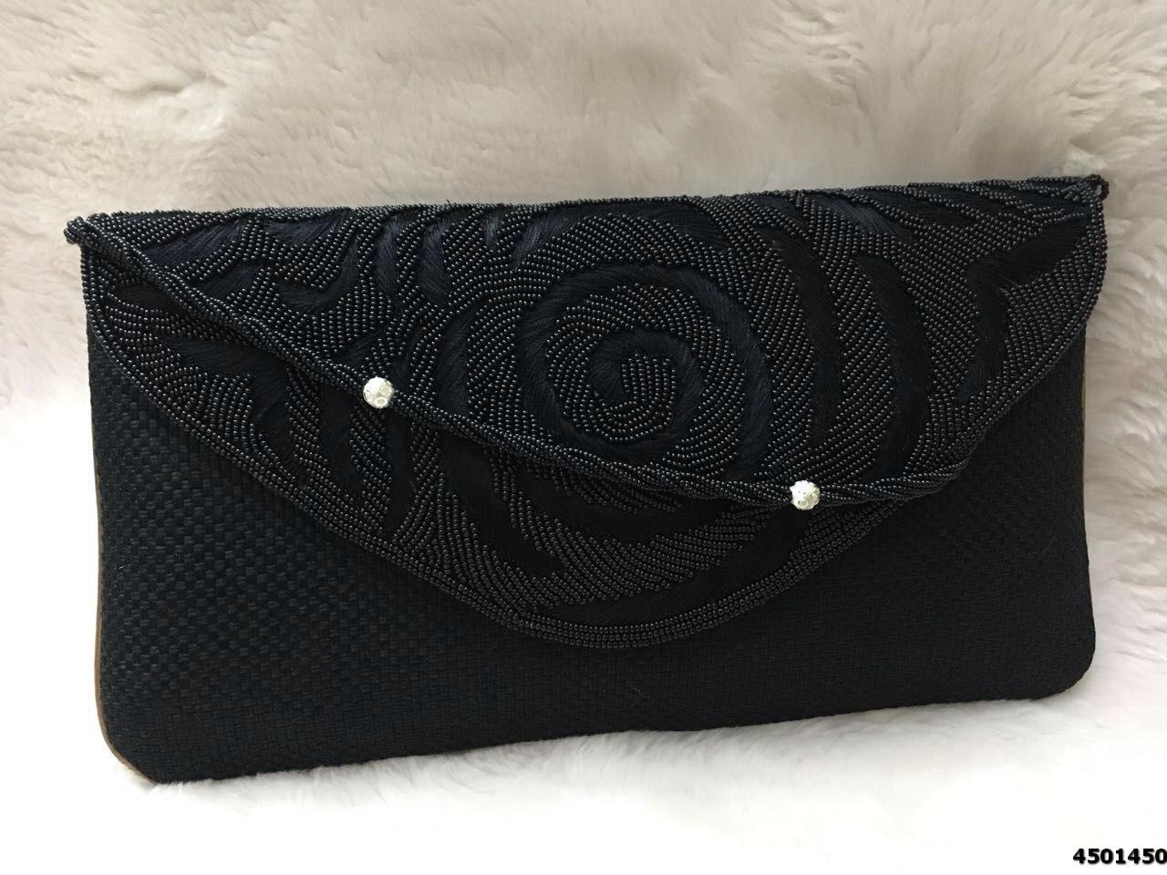 Fancy Beaded Embroidery Jute Evening Clutch Bag