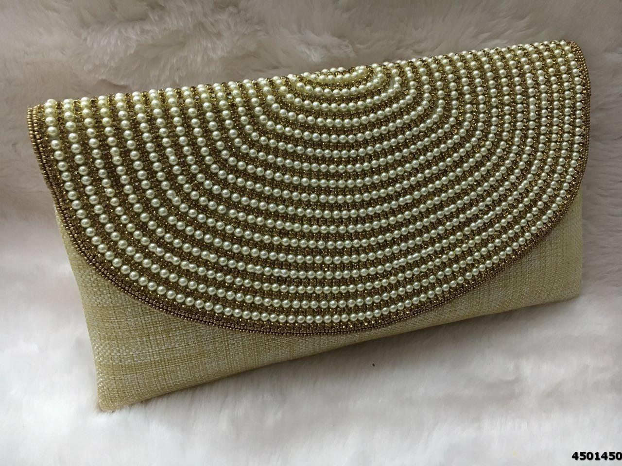 Latest Designer Fully Stone Work Flap Clutch Bag