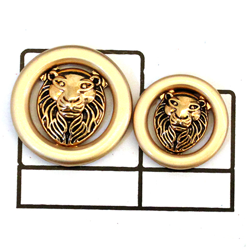 Lion face Circular Metal Button