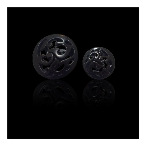 Black Wooden Shaded Button