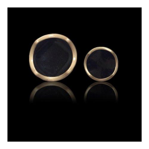 Gold Black Circular Button