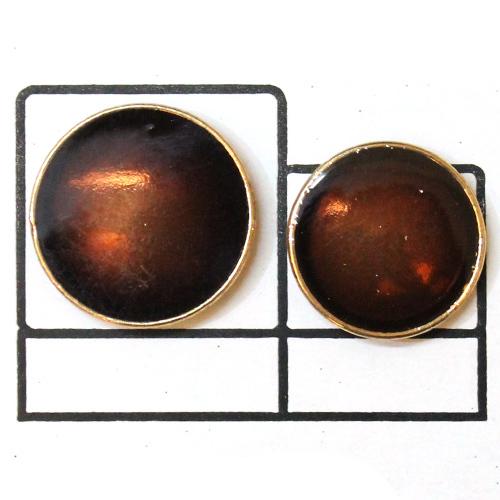 Brown enamel Golden Button