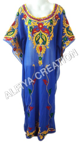 Glamorous multi color thread embroidery fancy farasha kaftan