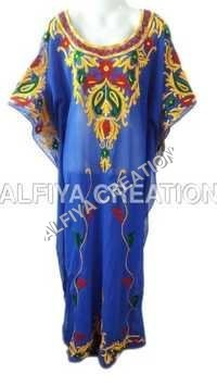 Glamorous multi color thread embroidery fancy farasha kaftan
